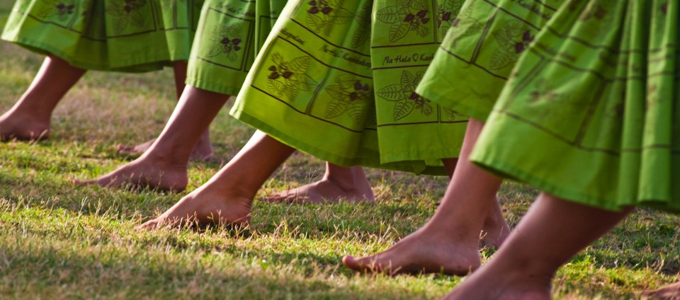 Intricate footwork of hula dancers